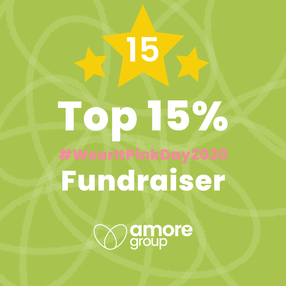 Ranked in the top 15% of fundraisers for wearing pink!